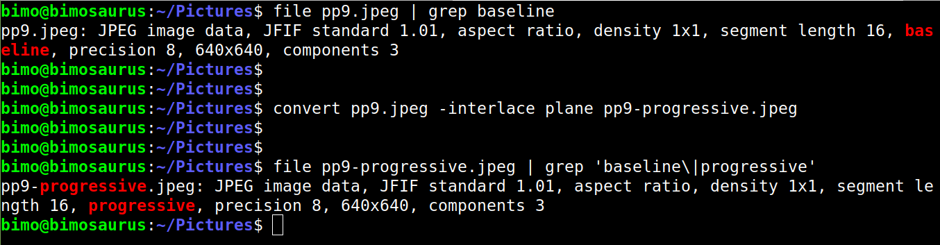 convert baseline to progressive jpeg